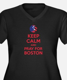 Keep calm and pray for Boston Women's Plus Size V-