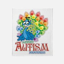 Autism Peacock Throw Blanket