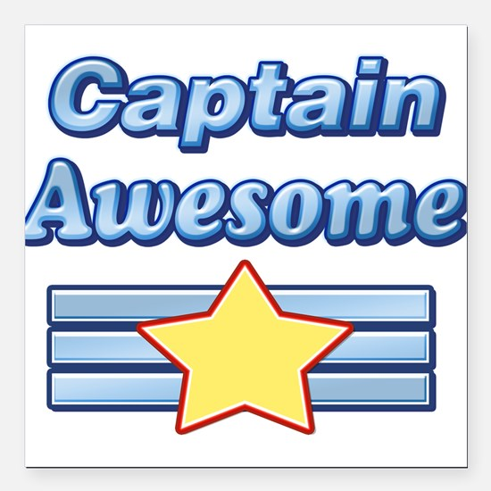 "Captain Awesome2 Square Car Magnet 3"" x 3"""