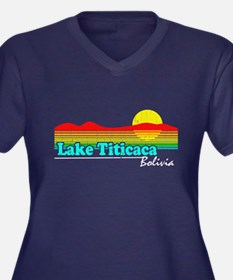 Retro LAKE TITICACA, Bolivia Plus Size T-Shirt