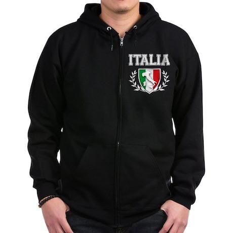 Italian Flag Crest Zip Hoodie