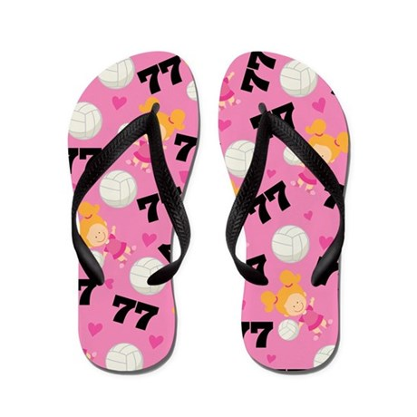Volleyball Player Number 77 Flip Flops