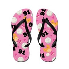 Volleyball Player Number 91 Flip Flops