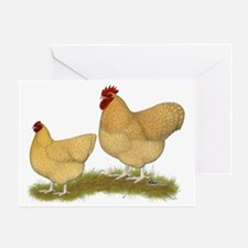 Orpington Lemon Cuckoo Chickens Greeting Card