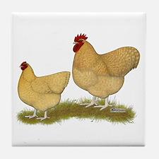 Orpington Lemon Cuckoo Chickens Tile Coaster