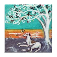 Greyhound spiritual tree Tile Coaster