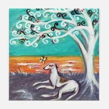 Greyhound spiritual tree Tile Coaster
