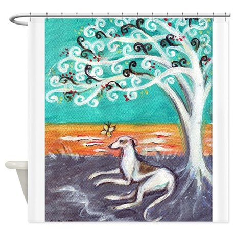Greyhound spiritual tree shower curtain by petartbyangie for Spiritual shower