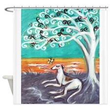 Greyhound spiritual tree Shower Curtain