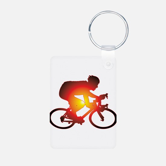 Sunset Bicycle Rider Keychains