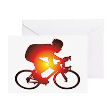 Sunset Bicycle Rider Greeting Card