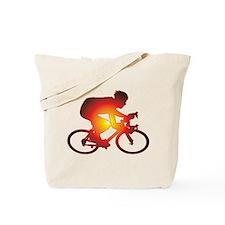 Sunset Bicycle Rider Tote Bag