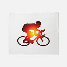 Sunset Bicycle Rider Throw Blanket