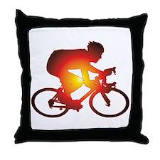 Sunset Bicycle Rider Throw Pillow