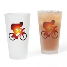 Sunset Bicycle Rider Drinking Glass