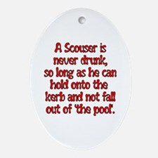 Red Scouser Never Drunk Oval Ornament