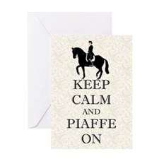 Keep Calm and Piaffe On Dressage Horse Greeting Ca