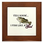 Fish like a girl Framed Tile