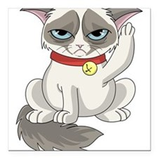 "Unlucky Grumpy Cat Square Car Magnet 3"" x 3"""