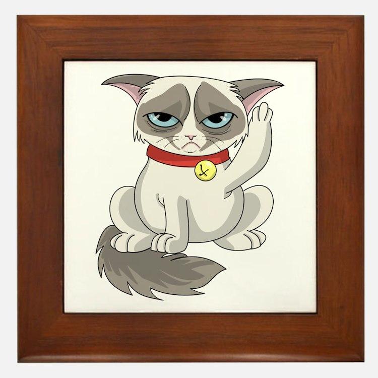 Unlucky Grumpy Cat Framed Tile