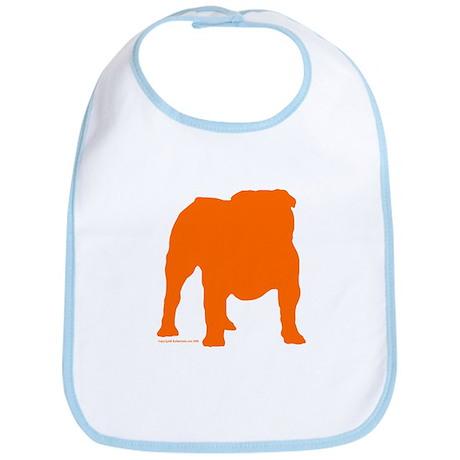 Orange Bulldog Silhoutte Bib