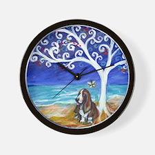 Basset Hound Spiritual Tree Wall Clock