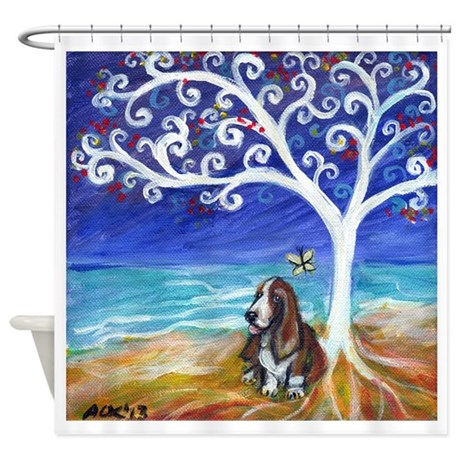 Basset hound spiritual tree shower curtain by petartbyangie for Spiritual shower