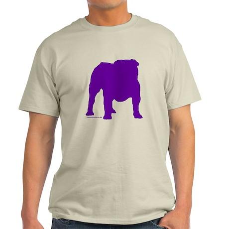 Purple Bulldog Silhoutte Ash Grey T-Shirt