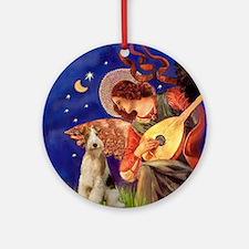 Mandolin Angel & Wire Fox Terrier Ornament (Round)