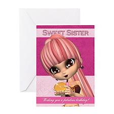 Sister Trendy Birthday Girl Greeting Card
