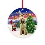 Santa's Take Off & Spinone Ornament (Round)