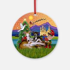 Xmas Fantasy & 2 Whippets Ornament (Round)