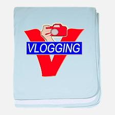 V for Vlogging with Camera baby blanket