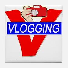 V for Vlogging with Camera Tile Coaster