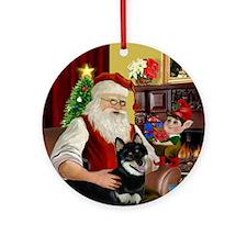 Santa & his Shiba Inu (Blk) Ornament (Round)