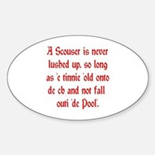 Scouser Lushed Up Red Oval Decal