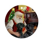 Santa & his 2 Black Labs Ornament (Round)
