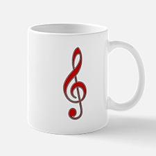 Old-Timey Red Treble Clef Mug