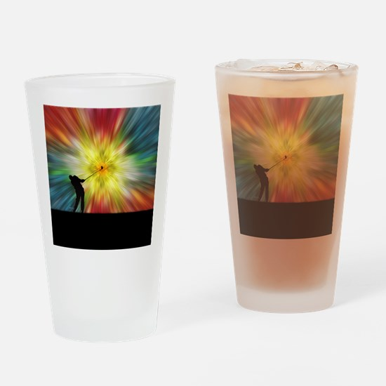 Tie Dye Silhouette Golfer Drinking Glass