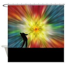 Tie Dye Silhouette Golfer Shower Curtain