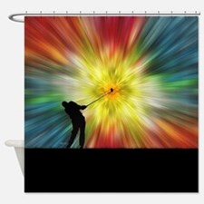 Tie Dye Silhouette Golfer Shower Curtain