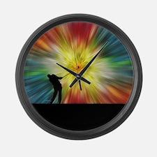 Tie Dye Silhouette Golfer Large Wall Clock