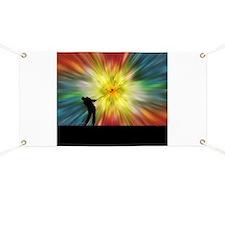 Tie Dye Silhouette Golfer Banner