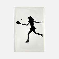 Girls Tennis Silhouette Rectangle Magnet