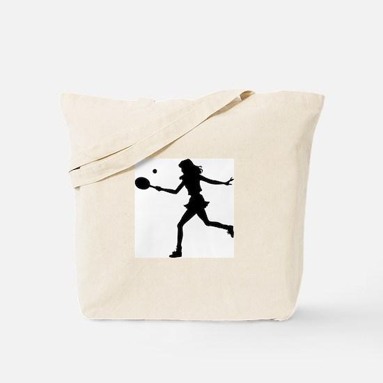 Girls Tennis Silhouette Tote Bag