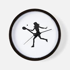 Girls Tennis Silhouette Wall Clock