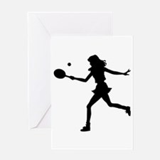 Girls Tennis Silhouette Greeting Card