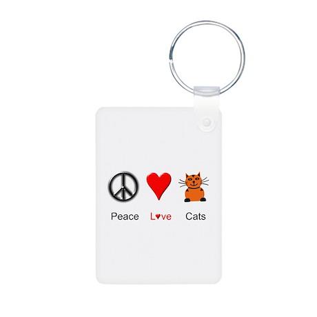 Peace Love Cats Aluminum Photo Keychain