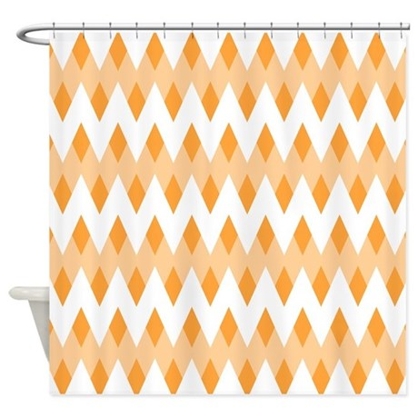 orange patterned shower curtain by metarla4