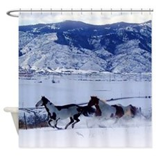 Running Paint Horses In The Snow Shower Curtain